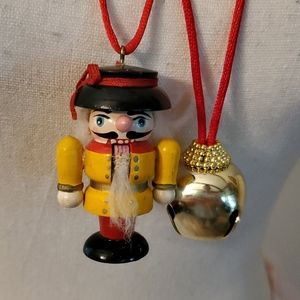 Vintage Christmas nutcracker, bell s/2 necklaces